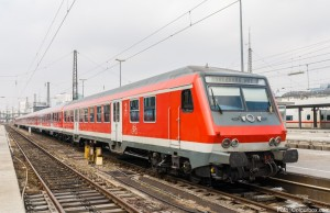 Suburban electric train at Munich railway station. Germany - Bav
