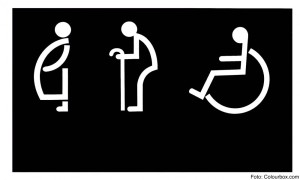 The Sign of restroom for old man and handicap and pregnant on black background