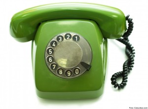 Green old-fashioned telephone