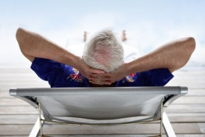 Senior relaxing in a deckchair